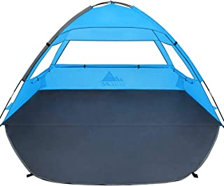 NXONE Beach Tent Sun Shelter, Beach Shade for 2-3 Person with UV Protection, Extended Floor, 3 Mesh Roll Up Windows & 8.0mm Fiberglass Rods丨Carry Bag, Stakes, Guy Lines Included