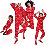 Carolilly - Pijama de Navidad con capucha con estampado de luces de la cuerda para la familia y la Navidad Rosso Neonato 6-9 Meses