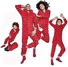 Carolilly - Pijama de Navidad con capucha con estampado de luces de la cuerda para la familia y la Navidad Rosso Neonato 18 meses