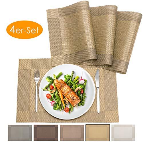 bellendo® Tischset 4er Set - Platzset PVC Kunststoff: Abwischbar, rutschfest – Platzdeckchen Weihnachten, edel und elegant - 45 x 30 cm - Gold
