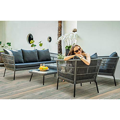 Home Islands Mekong Loungeset Gartenmöbel-Set 5-teilig