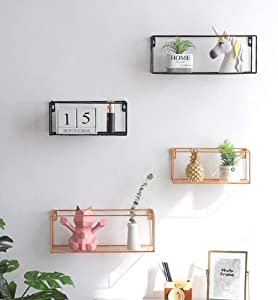 AHNNER Grid Wall Rack  Iron Art Wall Basket with Hook Metal Wire Storage Shelf Rack for Home Kitchen Bathroom Supplies  Wall Decor Black  Black