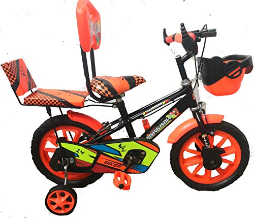 """Rising India 14"""" Cartoon Character Double Seated Kids Bicycle for 3-5 Years Black and Floral Orange Semi Assembled"""