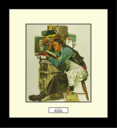BigOfficeArt Norman Rockwell Law Student Framed Lawyer Wall Hanging Art Gift