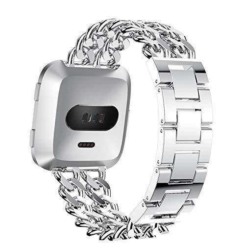 HGNZMD Correa De Joyería Compatible con Fitbit Versa 2 / Versa/Versa Lite, Correas De Reloj De Repuesto Band De Metal Pulsera De Acero Inoxidable Bandas Transpirables Compatible con Versa,Plata