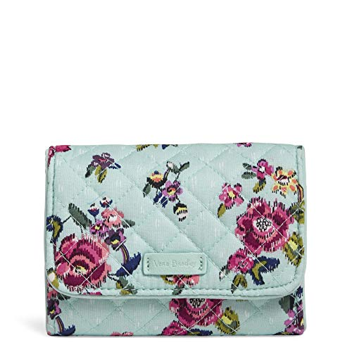 Vera Bradley Signature Cotton Riley Compact Wallet with RFID Protection, Water Bouquet