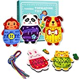 Wooden Lacing Cards Animals Threading Toys Sewing Cards for Kids Ages...