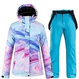 Ski Suit Neue Bunte Wear Schneeanzug Damen Snowboard Kleidung Winter wasserdichte verdicken Kostüme Outdoor-Skijacke + Schnee Lätzchen Hosen (Farbe : Blau, Size : L)