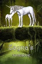 Zayna's Notebook: Zayna Personalised Name Notebook - Unicorn Family