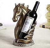 Soporte Para Botella De Vino Con Cabeza De Caballo Botellero Independiente Accesorios Para Manualidades Suministros De Resina Ornamental Escultura Original Estante Para Vino Decoración,Metallic