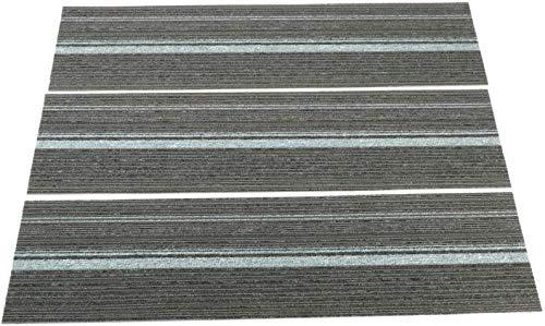 Nisorpa 12 x Teppichfliesen 3 m2 Box 100 x 25 cm jede strapazierfähige kommerzielle Bodenfliesen mit rutschfester Unterseite, strapazierfähiger Bodenbelag für Schlafzimmer, Treppen, Heimbüro