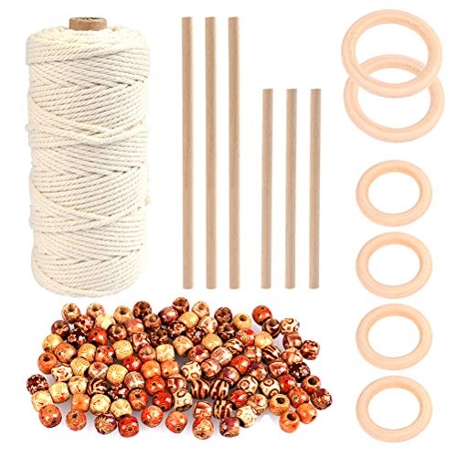 WOWOSS 109 Yards Natural Macrame Cord 3mm with 6pcs Wood Ring, 6pcs Wooden Stick and 100pcs Painted Wooden Beads for DIY Plant Hangers, Crafts, Knitting
