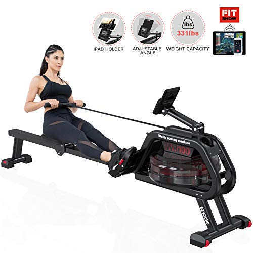 SNODE Water Rowing Machine Water Resistance Rower Training Exercise Equipment LCD Digital Monitor and Transport Wheels Home Gym Equipment
