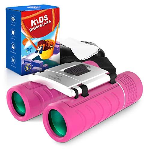 Prismáticos para niños, compactos con correa para niños de 4 a 12 años, niños y niñas, de alta resolución, 8 x 22, mini telescopios de óptica real, juguetes para observación de aves, camping, viajes de aprendizaje, color rosa