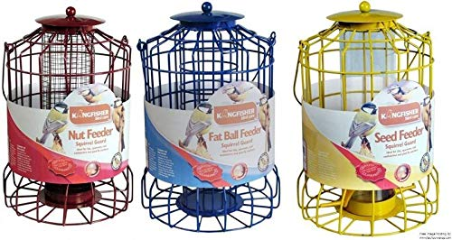 Easyshopuk Set of 3 - Squirrel Proof Hanging Bird Feeders - Nut Fat Ball & Seed New