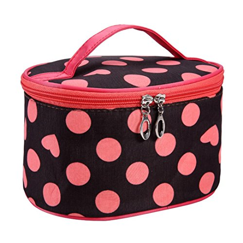 Fulltime® Imperméable Femmes Retro Pro Maquillage Dot Beauty Case Grand Cosmetic Toiletry Bag (OR)