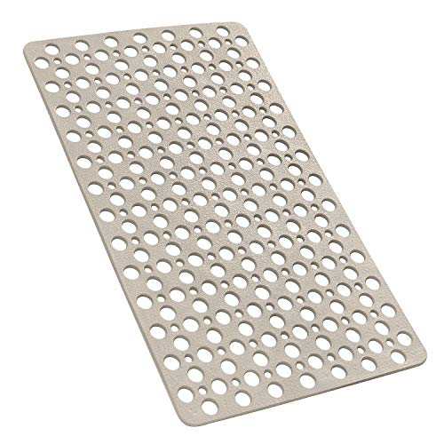 YINENN Bathtub Mat Non Slip with Suction Cups, TPE Shower Mat and Phtahlate Latex Free, Machine Washable Bath Mat for Tub, Soft Bathroom Mats with Drain Holes 30 x 17 Inch (Light Brown)