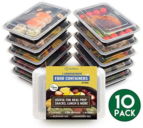 10 stuks ronde lunchboxen - BPA-vrij, ongeoorloofde maaltijdverpakkingen voor gezond eten - stapelbaar, microgolvend, onderweg voedselopslag Bento Box 1, 2 of 3 vakken 1 Compartment Transparant
