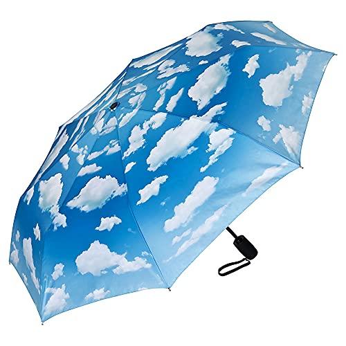 VON LILIENFELD Regenschirm Taschenschirm Wolken Bayrischer Himmel Windfest Auf-Zu-Automatik Stabil Leicht Kompakt