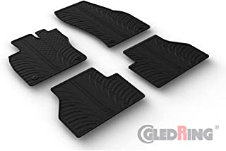Gledring 0657 Set of Rubber Mats Suitable for Volkswagen Caddy V MPV 2020- (T Profile 4 Pieces + Mounting Clips), Black