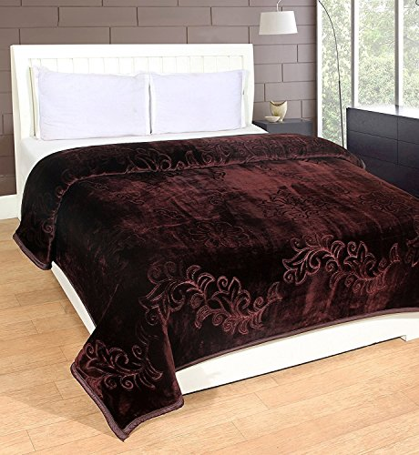 HOMECRUST Polyester & Polyester Blend Double Blankets, Coffee Brown