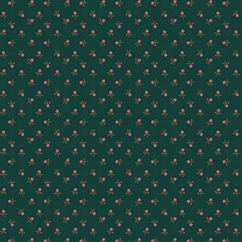 Hans-Textil-Shop Stoff Meterware Blumen Mara Baumwolle - 1 Meter, Blumenmuster, Blumenwiese, Kleidung, Deko, Dirndl (Grün)