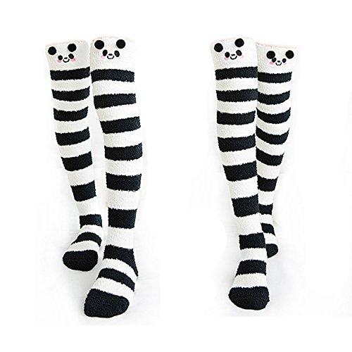Binoster Netter Schaf Schenkel-hohe lange gestreifte Socken-Korallenrote Vlies-warme weiche über Kniestrümpfe, beste Weihnachtsgeschenk-Frauen und Mädchen (Panda)
