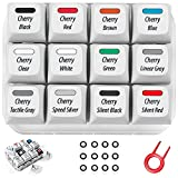 Griarrac Cherry MX Switch Tester 12-Key Mechanical Keyboard Sampler Switch Testing Tool with Keycap Puller and 24 O Rings, 40A-L & 40A-R (Printed PBT Keycap Include Linear Gray)