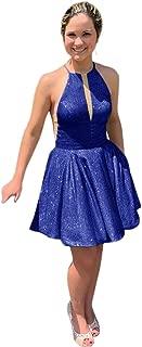 Jonlyc A-Line Sleeveless Halter Short Glitter Homecoming Dresses for Juniors 2019