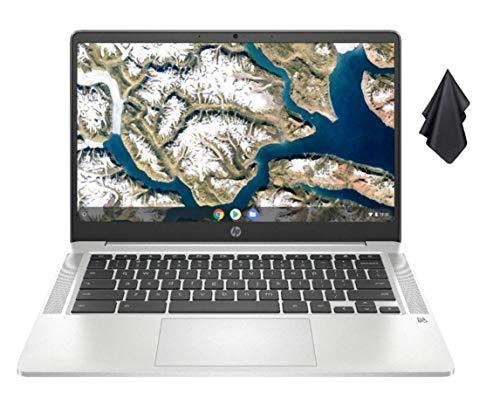 2021 Newest HP Chromebook 14-inch FHD Laptop, Intel Celeron N4000 up to 2.6 GHz, 4 GB DDR4 SDRAM, 32 GB eMMC Storage, Webcam, WiFi 5, Bluetooth 5, Chrome OS + Oydisen Cloth