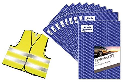 AVERY Zweckform 223-3A Fahrtenbuch für PKW (vom Finanzamt anerkannt, A5, 80 Seiten für insgesamt 858 Fahrten, für Deutschland und Österreich) (Standard Edition, 10 Stück + Warnweste GRATIS)