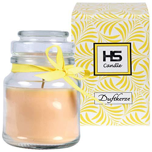 HS Candle Vela aromática de vainilla en vaso de cristal, vela 10 cm x 7 cm de diámetro, en caja de regalo, 120 g de cera, duración aprox. 30 horas, aroma de tarro de BonBon con tapa