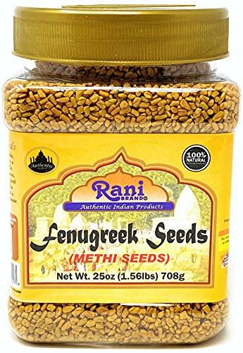 Rani Fenugreek (Methi) Seeds Whole 1.56lbs (25oz) PET Jar, Trigonella foenum graecum ~ All Natural | Vegan | Gluten Friendly | Non-GMO | Indian Origin, used in cooking & Ayurvedic spice