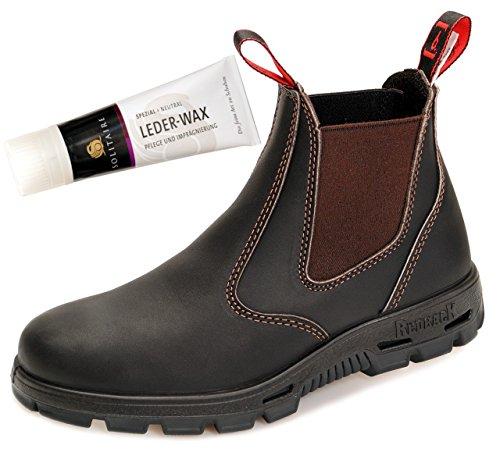 RedbacK BUBOK Work Boots Arbeitsschuhe aus Australien Unisex - Claret Brown - mit schwarzer Sohle + Lederwax (UK 09.5 / EU 43.5)