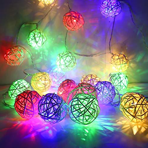 MoKo Guirnaldas Luminosas,Luz de Cadena del Pelota de Ratán,Luz de Hada USB y con Pilas Centelleante Globe Luces para Interior Decoración Dormitorio Casera de la Boda de Navidad - Colorido
