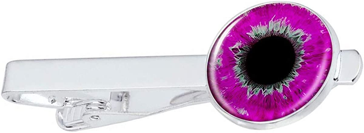 LooPoP Men Tie Clip Magenta Color Eyeball Stainless Tie Pins for Business Wedding Shirts Tie Clips Include Gift Box