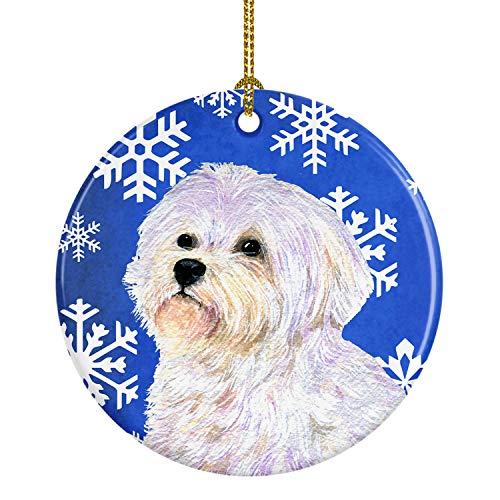 Caroline's Treasures SS4619-CO1 Maltese Winter Snowflakes Holiday Christmas Ceramic Ornament, Multicolor