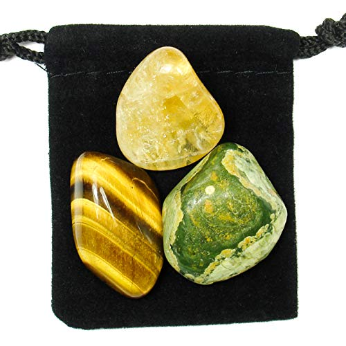 The Magic Is In You Solar Plexus Chakra Tumbled Crystal Healing Set With Pouch &Amp; Description Card - Citrine, Rhyolite, Tiger'S Eye