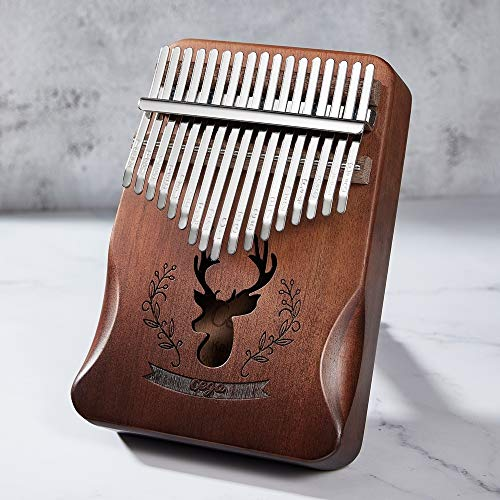 Cega Kalimba Thumb Piano 17 Keys, Portable Mbira Finger Piano Gifts for Kids and Adults Beginners Professional with Full Set of Accessories (Deer, Gradient Brown)