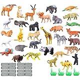 JEJA Conjunto de Juguetes de Figuras de Animales, 53 Piezas Mini simulación Jungle Wild Animal Model Playset, recursos de Aprendizaje y favores de Fiesta Juguetes para niños pequeños