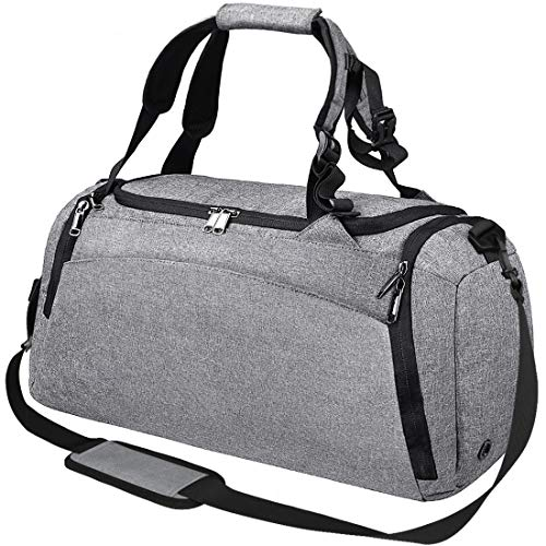 NEWHEY Sports Gym Duffel Bag with Shoe Compartment Waterproof Travel Holdall Large Sport Duffle Bag for Men Women 40 L Grey