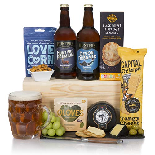 Craft Beer, Cheese and Snacks Hamper - Devonshire Real Ale and Award Winning Cheese Gift Basket - Free UK Delivery