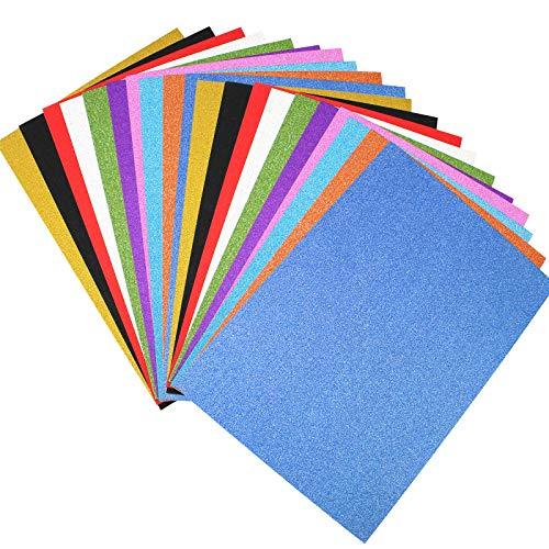 D-Orange 20 Blätter Glitzer Papier Karte A4 Glänzend Bastelpapier 10 Farben Glitterkarton 250g/m² für DIY Craft Album Handwerk Scrapbooking Geburtstagsparty Deko