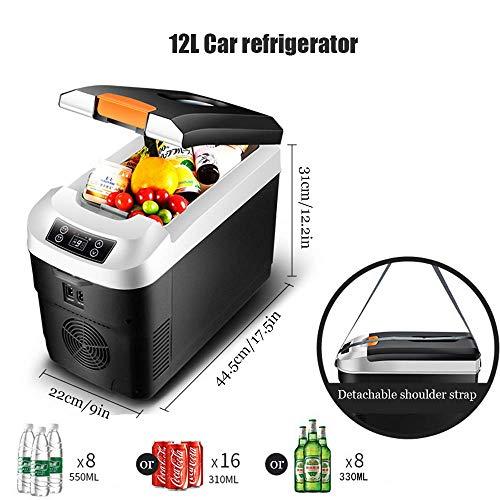 YYSDH Auto-koelkast, thermo-elektrische koelbox, mini-koelkast, voor auto, vrachtwagen en stopcontact, 12 V & 220 V, auto, camping, outdoor, huishoudelijke cosmetica, koeling 12 l, zwart