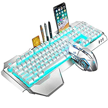 Wireless Keyboard and Mouse,Blue LED Backlit Rechargeable Keyboard Mouse with 3800mAh Battery Metal Panel,Removable Hand Rest Mechanical Feel Keyboard and 7 Color Gaming Mute Mouse for PC Gamers