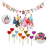 SIMUER 23PCS Geburtstag Dekoration Set Happy Birthday Girlande Partyhüte Party Kegel Hüte mit Pom...