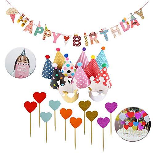 SIMUER 23PCS Geburtstag Dekoration Set Happy Birthday Girlande Partyhüte Party Kegel Hüte mit Pom Poms und 10 Kuchen Dessert Karte