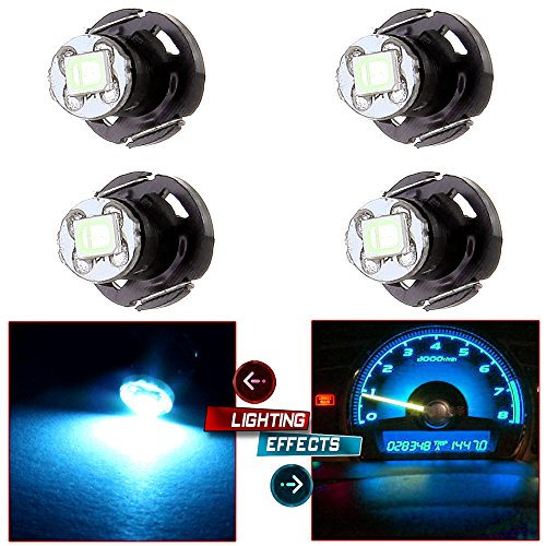 cciyu 4 Pack Ice Blue T4/T4.2 Neo Wedge 2835SMD LED Dash Climate Bulbs Replacement fit for Jeep TJ Cherokee Wrangler Liberty 1997-2007