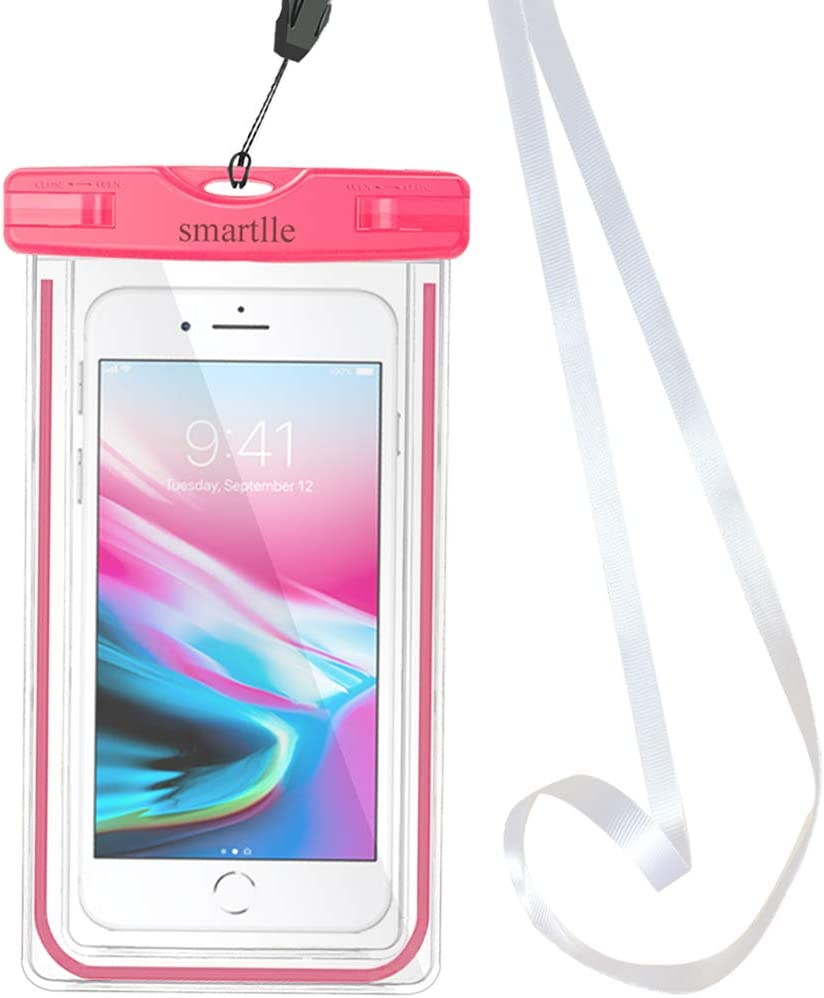 Waterproof Phone Pouch, Smartlle Universal Waterproof Phone case, Dry Bag Outdoor Beach Bag for iPhone 12 11 Pro/12 11 Pro Max/XR/SE/XS/XS Max/8 7 6S Plus, Samsung Galaxy, and Other Phones Up to 6.9''