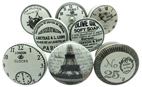 Set di 8 pomelli in ceramica di colore grigio, bianco e argento per porte o antiche credenze vintage.